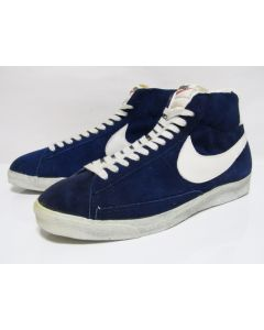 NIKE BLAZER SUEDE HI OG Blue Suede White Made in Taiwan from 1970s VNDS with No Box 12.5us (4120)