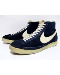 NIKE BLAZER SUEDE HI OG Blue Suede White Made in Taiwan from 1970s Pre-Owned with No Box 12.5us (4120)