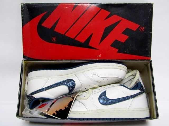 more photos 867f1 691c1 (SOLD OUT) NIKE AIR JORDAN 1 LOW OG White Metallic Blue from 1985 Brand New  Deadstock ...