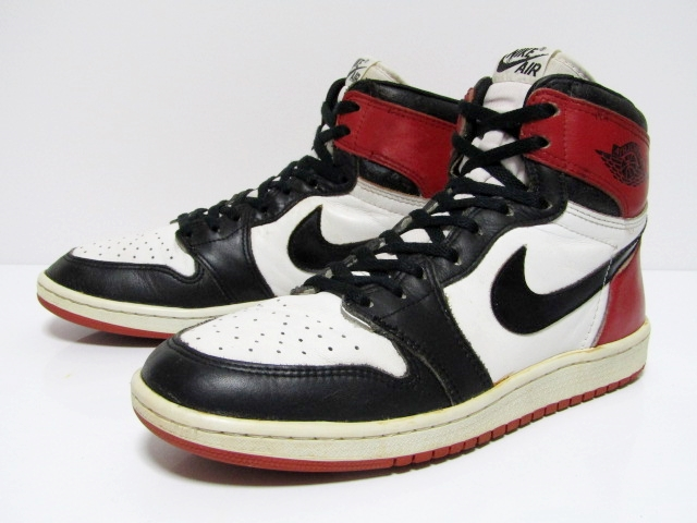 19e41eb9 NIKE AIR JORDAN 1 HIGH OG ''Black Toe'' from 1985 Pre-owned Excellent  Condition …