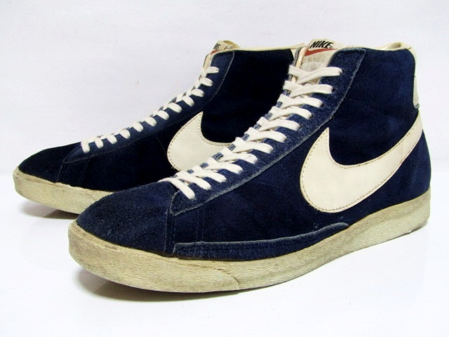 e8608696 NIKE BLAZER SUEDE HI OG Blue Suede White Made in Taiwan from 1970s Pre-Owned  wi …